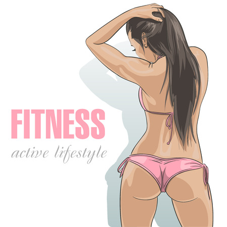 Attractive caucasian fitness girl in sexy pink swimsuit. Vector illustration Illustration