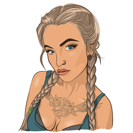 blondie: Beautiful tattooed woman with blue eyes. Vector Illustration
