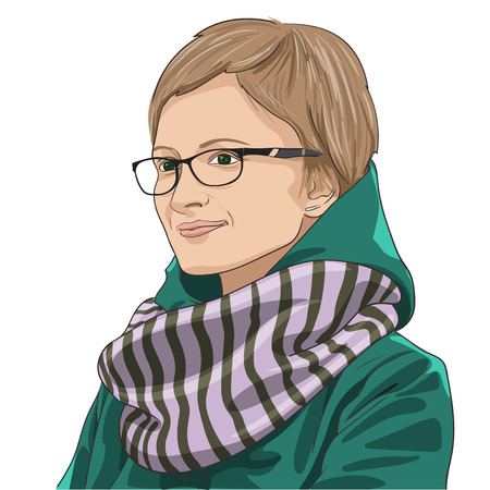 unemotional: Hipster girl with glasses in the green coat and the scarf. Vector illustration Illustration
