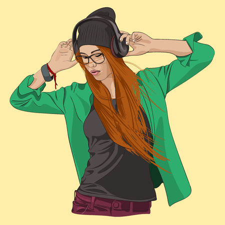 Hipster girl in black beanie with headphones