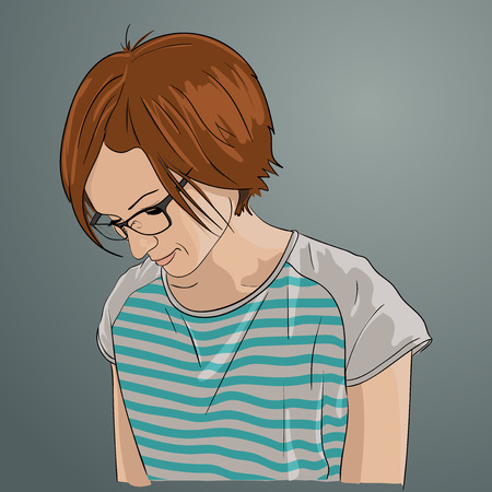 Redhead girl with glasses. Vector illustration