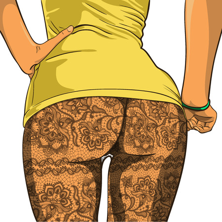 voluptuous: Sexy booty girls in Lacy pantyhose. Vector illustration Illustration
