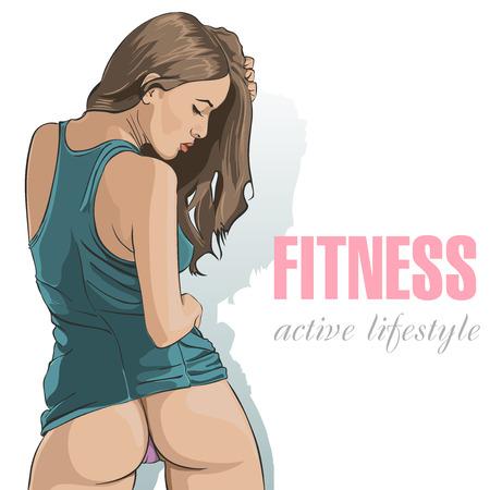 Sexy butt girls in underwear. Fitness lifestyle. Vector illustration