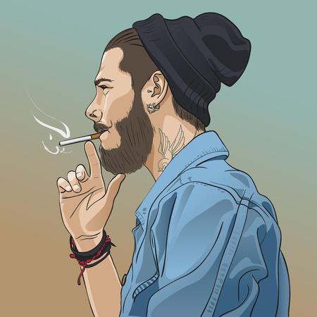 Jeune beau hippie barbu homme qui fume cigarette. Vector illustration