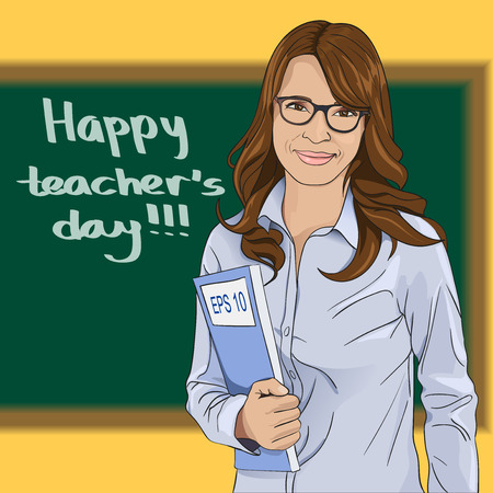 first day: Happy Teachers Day. The teacher stands at the blackboard. Vector illustration Illustration