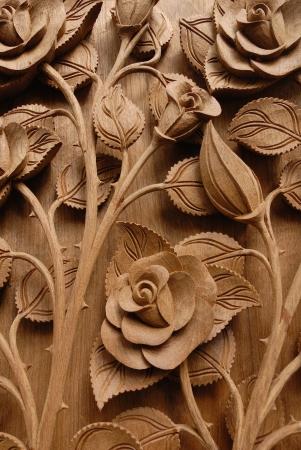 teak: Thai style Teak wood carving Door in Chiangmai Thailand