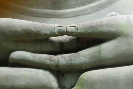famous paintings: The Hands of Limestone Buddhist state in Wat Pha Sawang Boon Nakornayok Thailand Stock Photo