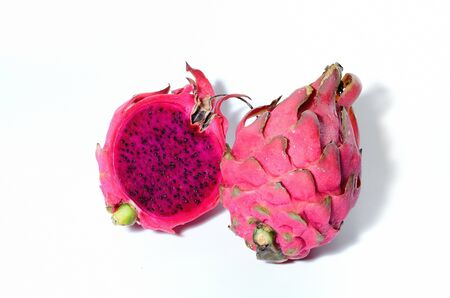 Dragon fruit Pink core on isoalte white background photo
