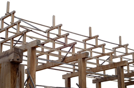 Teak wood roof frame structure on isolate white background Stock Photo - 21502999
