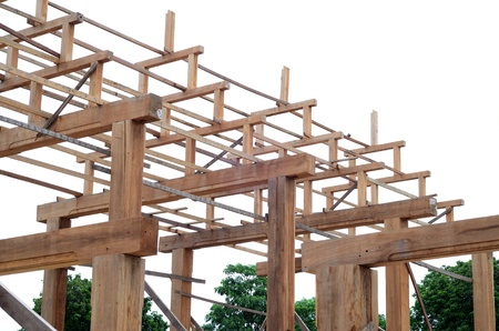 Teak wood roof frame structure photo