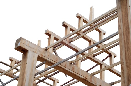 Bracing teak wood roof frame structure between construction on isolate white background photo