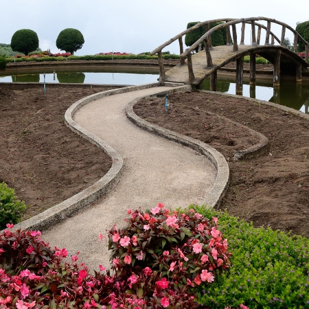 Concrete walkway for garden photo