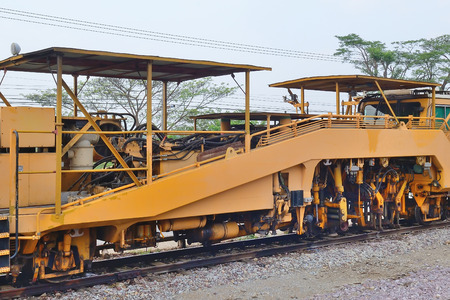 establishing: maintenance train on railway Stock Photo