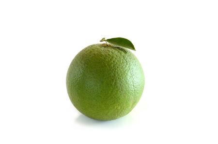 Green Tangerine ornage on white background