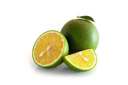 ornage: Green Tangerine ornage on white background