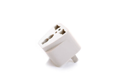 usb various: White universal adapter with clipping path on white background Stock Photo