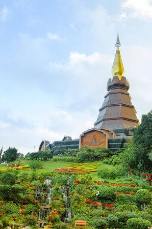Landscape of pagoda in an Inthanon mountain, Doi Inthanon nation park,Thailand. photo