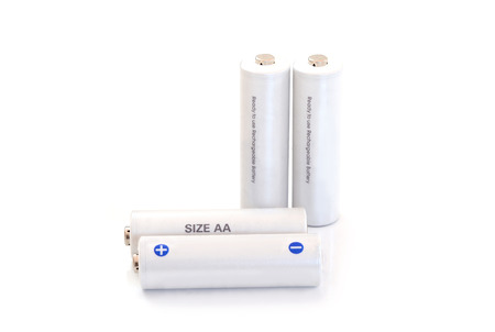 Rechargeable battery isolated on white background photo