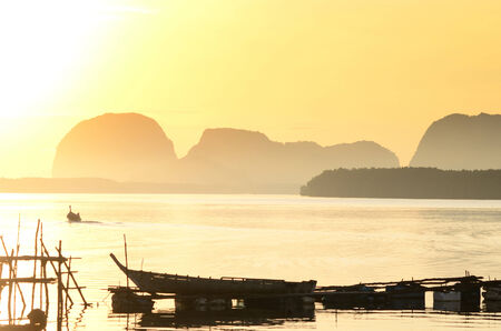 phangnga: Scenery of sunrise at Ban sam chong village in Phangnga Thailand