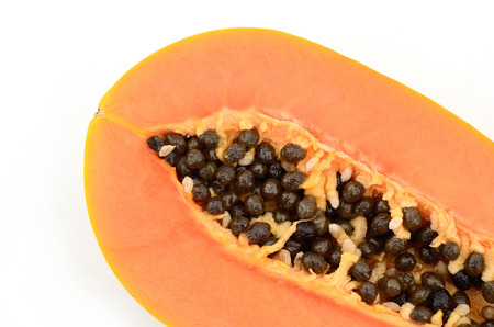 grope: Papaya ripping on white background