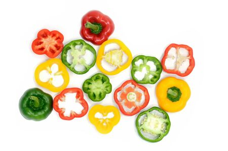 Sweet pepper slice on desk ,paprika on isolate white background photo