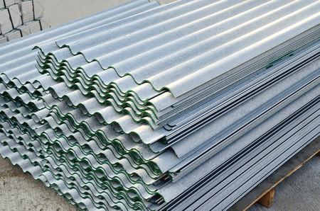 corrugate: Corrugate gypsum roof sheet storage in warehouse Stock Photo