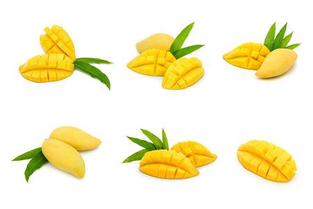 jugo verde: Colección madura fruta de mango aislado en blanco Foto de archivo