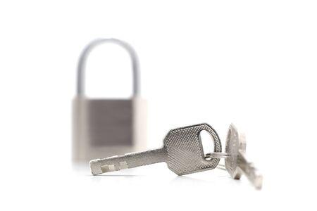 master key and key lock isolation on white background photo