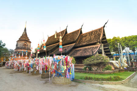 molee: Old wooden and ancient temple of Wat Lok Molee Chiangmai Thailand