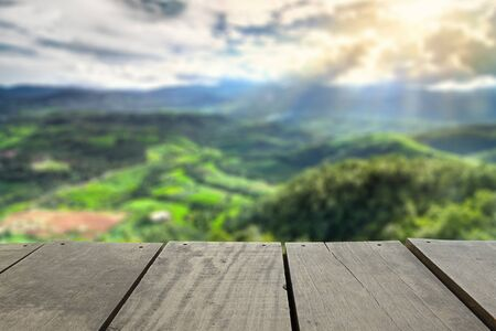 terrace house: Defocused and blur image of scenery top view from terrace house in chiangmai for background usage Stock Photo