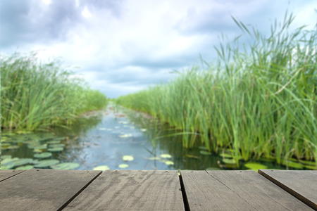a wonderful world: Defocus and blur image of terrace wood and Beautiful lake inside home background usage Stock Photo