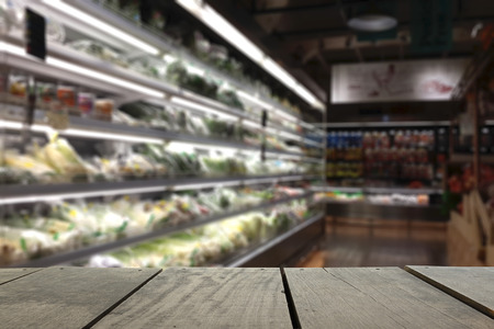 Defocus and blur image of terrace wood and Supermarket blur background for background usage Stock Photo