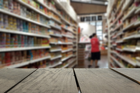 local supply: Defocus and blur image of terrace wood and Supermarket blur background for background usage Stock Photo