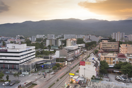 bldg: CHIANGMAITHAILAND  MAY 262015: Top view of Chiangmai city Scape over MAYA Bldg. 6th fl. on MAY 26 2015 in Chiangmai. According to Tripadvisor it is the 1st top of traveller destination in Chiangmai Thailand Editorial