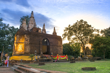 wat jedyod: Ancient Buddhist architecture in Chiangmai Thailand.Wat Jed Yod temple in Full Moon Poya Day or Visakha Bucha Day Stock Photo