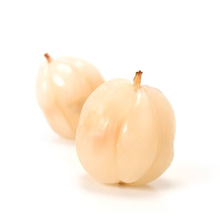 lanzones: Longkong Langsat or Lanzones fruit is endemic to Southeast Asia. watery flesh with a sweet flavor and refreshing but some variety are sour. Stock Photo