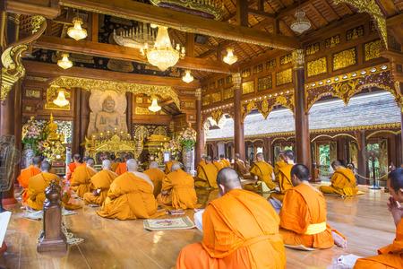 chant: CHIANGMAI, THAILAND: APRIL 26, 2015 - Monks Evening Chant in Wat Rampoeng temple on April 26,2015 ,Chiangmai, Thailand Editorial