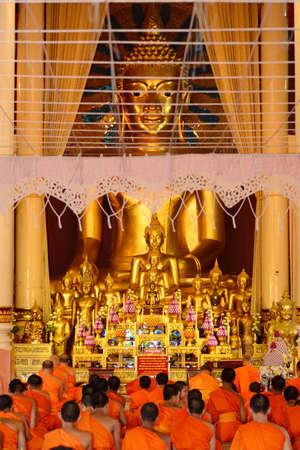 chant: CHIANGMAI, THAILAND: JUNE 19, 2015 - Monks Evening Chant in Wat Phra Singh temple on June 19,2015 ,Chiangmai, Thailand