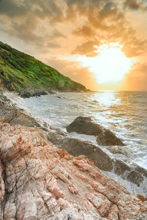 palaeolithic: Beautiful scenery seascale in sunset time ,Thailand