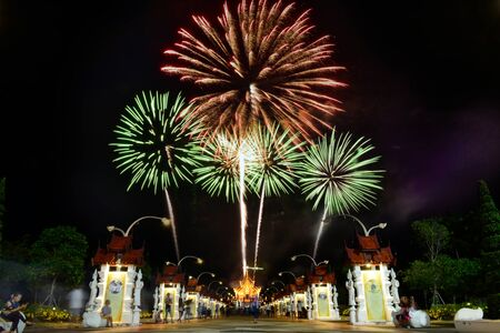 queen's birthday: Fireworks celebrate the queens birthday anniversary in Chiangmai, Thailand