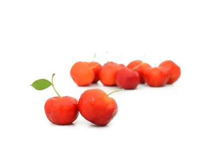 west indian: West Indian Cherry with leaf isolate on white background