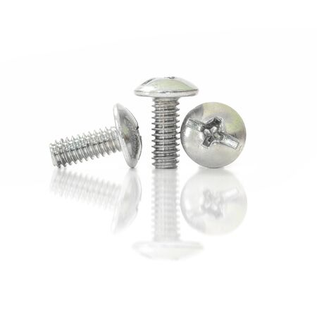 hobnail: Screw bolt nuts and reflect on isolate white background