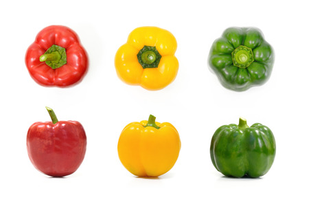 pimenton: Collection of colorful peppers over white background Vegetable