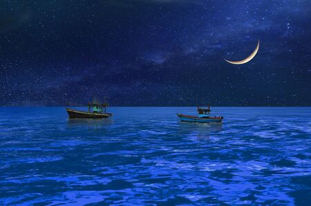 midst: Boats under the crescent moon midst the blue ocean
