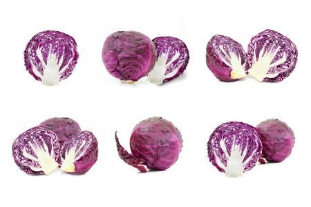 red cabbage: Collection red cabbage on a white background Stock Photo