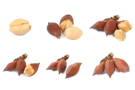 salak: Collection of Salak snake fruit isolated on white background