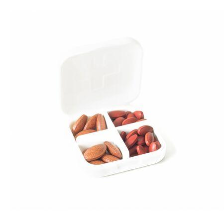 medicine box: Pills in medicine box isolate on white background Ferrous Fumarate with Vitamins