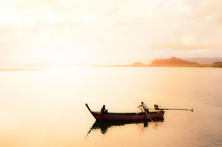 fareast: Thailand, Phuket, local fishing boat with Silhouette