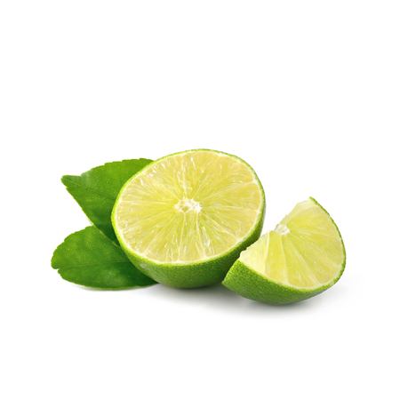 limón: Lime isolate on white background Lemon fruit