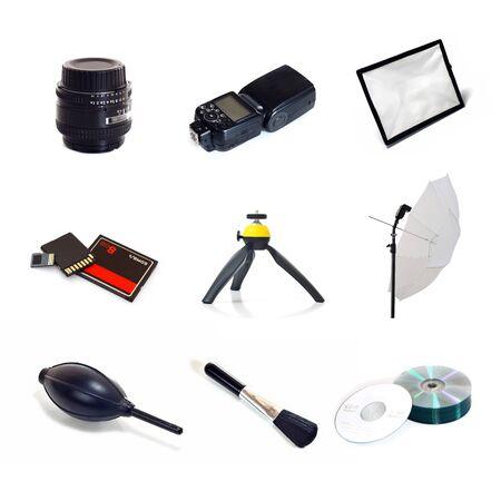 mini umbrella: camera accessories isolate on white background